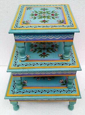 Wooden Stool Table Wooden Chowki Bajot Hand Crafted Hand Painting  Art Set of 3