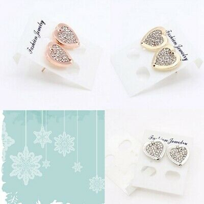 Fashion Elegant Gold Silver Rose Love Crystal Stud Charm Earrings Jewelry lskn