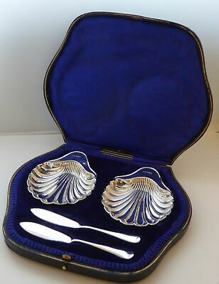 Boxed Pair Edwardian 1906 Solid Silver Butter Dish Dishes Knives Knife Set