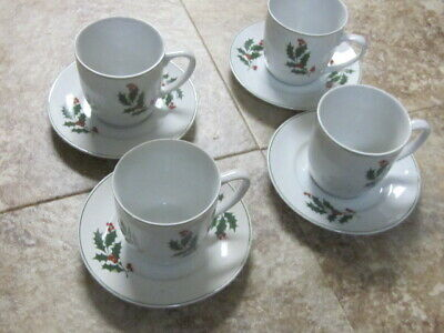Holiday cups and saucers-lot of 4,Alco make, Romania