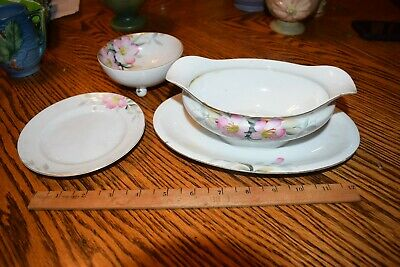 Noritake AZALEA  3pc Lot Gravy Boat w/ Attached Underplate, Plate Footed Bowl