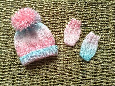 Brand New Hand Knit Newborn Baby Girl Pom Pom Hat And Mitts In Shades Of Pink An