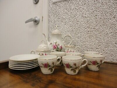 Porcelain Tea or Expresso set/ teapot/mugs/saucers/cream/sugar