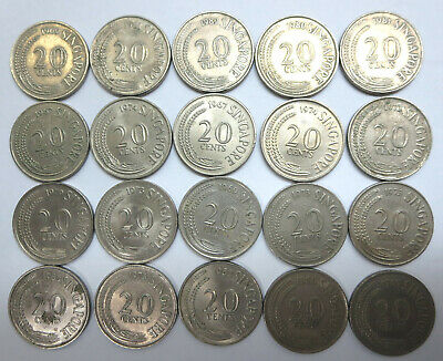 20 Singapore twenty cents first series coins Copper nickel 1967 - 1982 wholesale