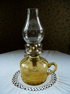 Victorian Glass Oil lamp Finger Lamp Amber Uranium Glass