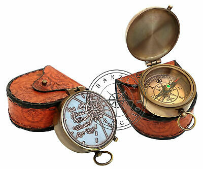 Dollond London Brass Pocket Compass With Leather Case, Engraved Nautical Gift