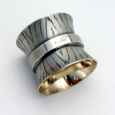 Large Matte Engraved Napkin Ring Coin Silver 1870 Inscribed