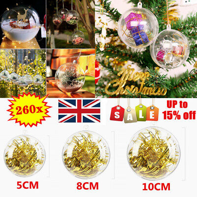 260X Clear Plastic Christmas Balls Baubles Sphere Fillable Xmas Tree Ornament UK