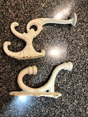 2 single COAT HOOKS vintage 1850's school farmhouse old rustic white paint