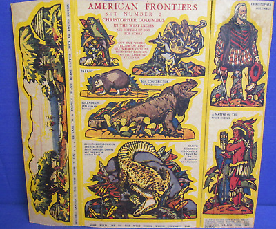 """Quaker Puffed Wheat (1930's) Cereal Box cut-outs """"American Frontiers"""" #1 & #2"""