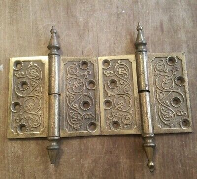 "Pair- Vintage Eastlake Steeple Tip Door Hinges. 4 1/2"" X 5"" 1/2. 1 damaged"