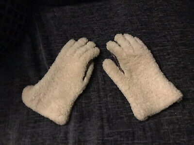VINTAGE LADIES 100% SHEEPSKIN SHEARLING LEATHER GAUNTLET GLOVES - Small/medium