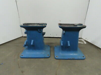 "Vintage Cast Iron Industrial Machine Legs Base 23x18x24-1/4"" Steampunk Lot of 2"