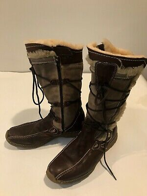 COSMOSIS Finland Brown Leather Suede & Sheepskin Winter Boots Size 8-9 EU 39