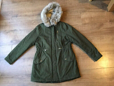 New Look 915 Girls Khaki Green Furry Hooded Parka Style Coat - Age 12 - 13 Years