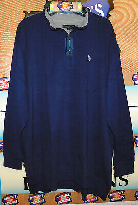 New Mens US Polo 1/4 Zip Mock Neck Heavy Cotton Sweaters B&T$21.99 Free Shipping