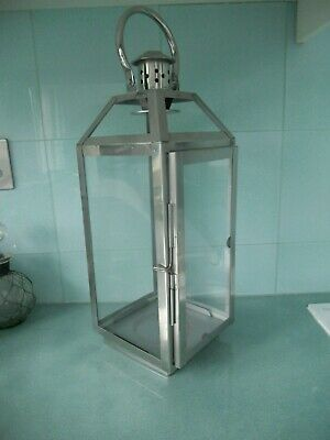 "Large Chromed Metal And Glass Garden / Patio / Home Lantern - 18"" High - 2 Avail"