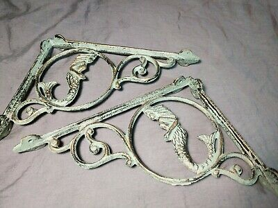 2- Set Antique-look Mermaid Figurehead Wall Shelf Brackets Cast Iron 9 inch
