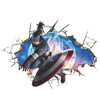 3D Marvel Avengers Wall Stickers Vinyl Arts Room Dec Decal Super Hero Posters