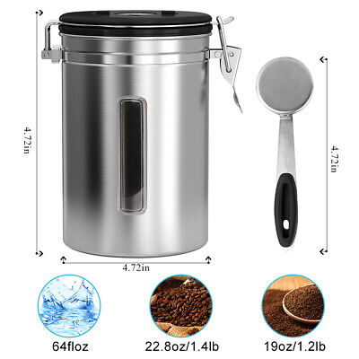 Coffee Airtight Canister Stainless Steel Large Food Tea Storage CO2 Valve(Scoop)