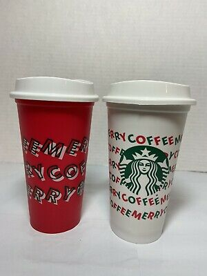 Starbucks Holiday Christmas 2019 Red and White 16oz Reusable Cups w/ Lid- 2-Cups