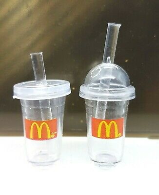 Doll House Acc 1:12th Miniature - 2 Mini McDonald's Drinking Containers