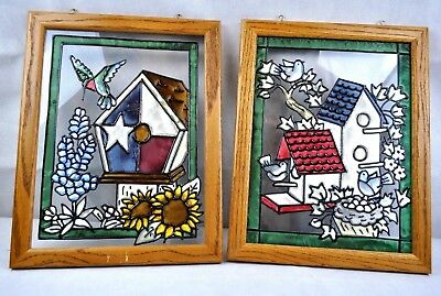 Stained Art Glass Sun Catcher Wood Framed Window set 2 hummingbird house decor