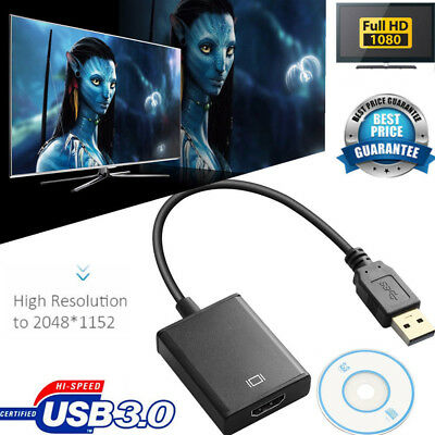 USB 3.0 To HDMI Audio Video Adaptor Converter Cable For Windows 7/8/10 1080P LN