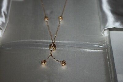 14k Yellow Gold 14KT Necklace with Gold Balls Gold and Pearl Lanterns Elegant