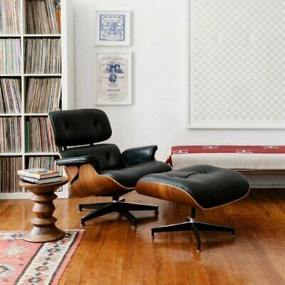 Classic For EAMES Lounge Chair And Ottoman - 100% Genuine Leather - Sandal Wood