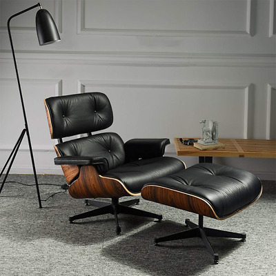 For Eames Lounge Chair & Ottoman Reproduction Style Black Sandal Italian Leather