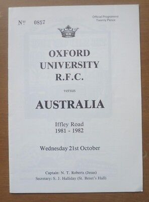 Oxford University v Australia, 21/10/1981 - Touring Match Programme.
