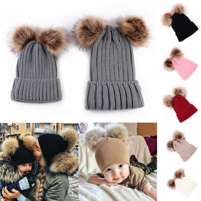 Baby//infant or Mum Knitted pompom Hat Warm Winter Beanie cable knit