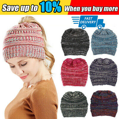Women's Ponytail Beanie Ribbed Winter Messy Bun Cable Warm Soft Knit Hat Cap 2h
