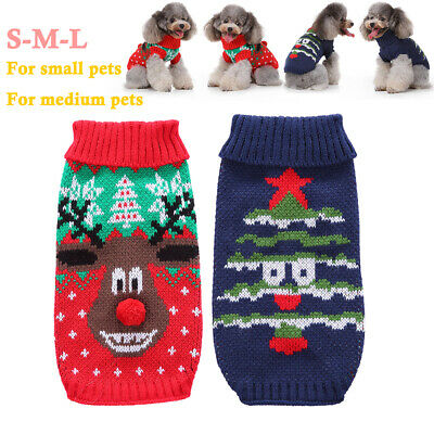 Pet Dogs Clothes Christmas ELK SWEATER Jumper Yorkie Small Puppy Coats Jackets