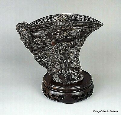 Large and antique Chinese horn libation cup hand carved with landscape 7.2""