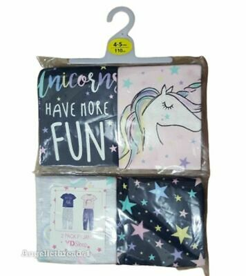 Primark Pack Of 2 Kids Girls Unicorn Cotton Pyjama Pajama Pj Set Gift