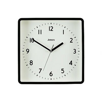 Square Wall Clock Jones Clocks® The Shack Black Case White Dial 25cm