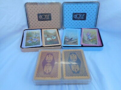 6 Decks Playing Cards 2 Double Hoyle Tins Flowers 1 West Germany Renaissance