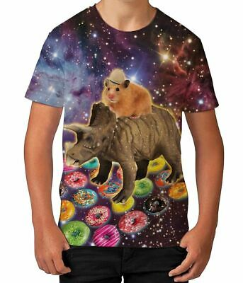Hamster Riding Dinosaur in Space Funny Donuts Boys Unisex Kids Child T Shirt