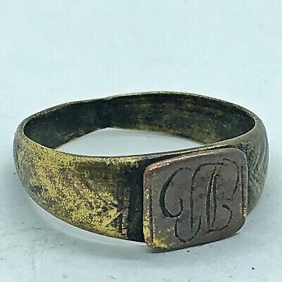 Ancient Or Medieval Brass Ring European Metal Detector Find Artifact Antique #3