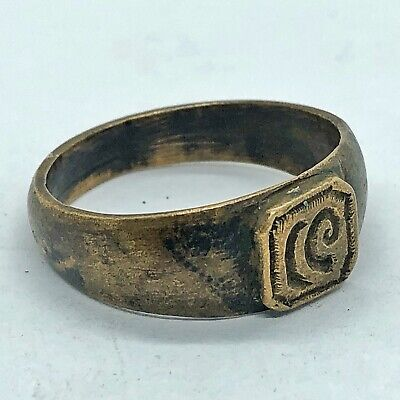 Ancient Or Medieval Brass Ring European Metal Detector Find Artifact Antique #4