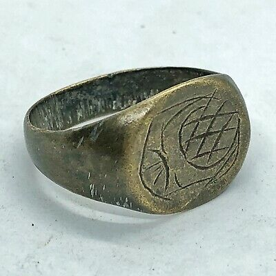 Ancient Or Medieval Brass Ring European Metal Detector Find Artifact Antique #7