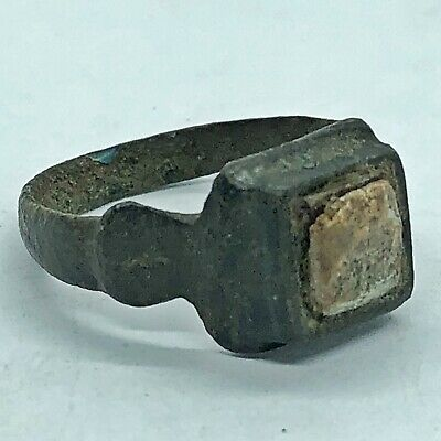 Ancient Or Medieval Brass Ring Glass Center Stone European Artifact Antique