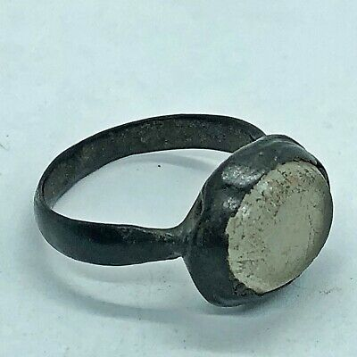 Ancient Or Medieval Brass Ring Glass Center Stone European Artifact Antique -