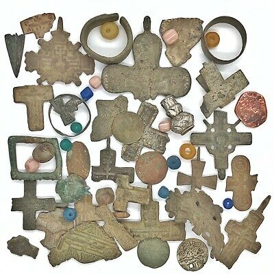 Medieval Byzantine & Post Middle Ages Artifact Lot Christian Cross Amulet Old :