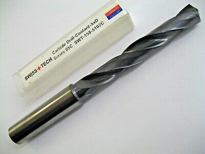 10.2mm CARBIDE DRILL 5xD THROUGH COOLANT COATED SWISS + TECH SWT-158-5102C P324