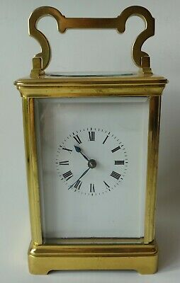 Brass carriage clock large full size, striking hour & half hour fully working