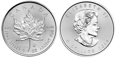 2014 $5 1oz Silver Canadian Maple Leaf .9999 BU Pic Of 2017 for reference only!!
