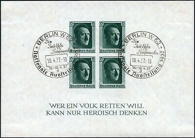 Germany 1937 Culture Fund Sheet Vfu Special Cancel Sg Ms636 Imperforate